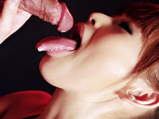 Miina is a sleek Japanese kitten who sucks on a hard rod until she laps up the cream